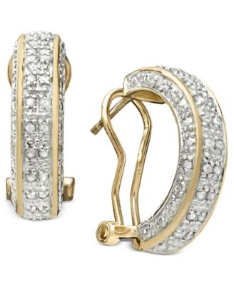 Rose-Cut Diamond Hoop Earrings in 18k Gold over Sterling Silver or Sterling Silver (1/2 ct. t.w.)