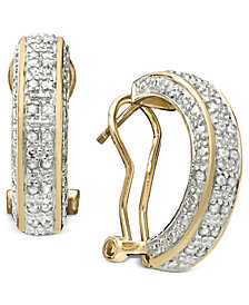 Victoria Townsend Rose Cut Diamond Hoop Earrings In 18k Gold Over Sterling Silver Or