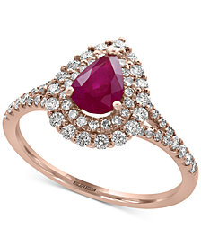 Amoré by EFFY® Certified Ruby (3/4 ct. t.w.) and Diamond (1/2 ct. t.w.) Ring in 14k Rose Gold, Created for Macy's