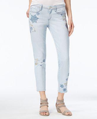 Rewash Juniors' Embroidered Ripped Cuffed Super Skinny Jeans