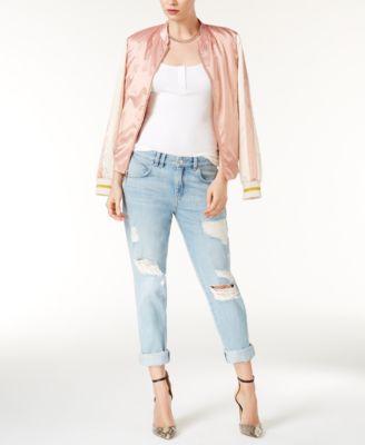 GUESS Ripped Cotton Super Bleach Wash Boyfriend Jeans - Women - Macy's