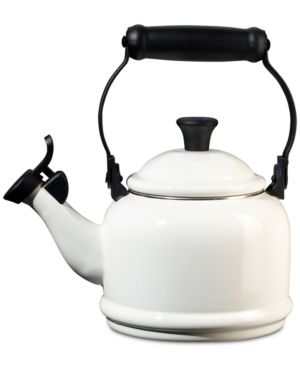 Elegant and timeless, this whistling tea kettle is an instant classic on any stovetop and great way to revive tea time for two. The glossy enamel finish adds colors to your range and is a cozy addition to your home. Lifetime warranty.