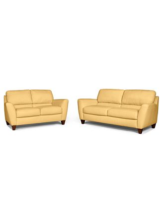 Almafi 2-Piece Leather Sofa Set: Sofa And Love Seat - Furniture