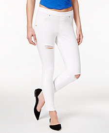 HUE® Women's  Original Denim Ripped Knee Leggings, Created for Macy's