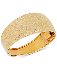 Italian Gold Textured Dome Hinged Bangle Bracelet in 14k Gold