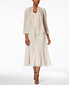 R&M Richards Sleeveless Beaded V-Neck Dress and Jacket