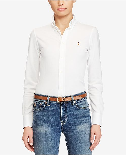 Polo Ralph Lauren Slim-Fit Button-Front Knit Shirt - Tops - Women ... 49509c851673