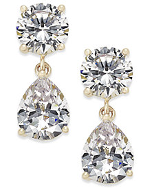 Joan Boyce Cubic Zirconia Double Drop Earrings