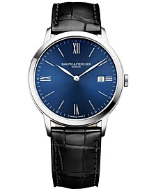 Men's Swiss Classima Black Leather Strap Watch 40mm M0A10324