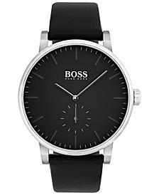 Men's Essence Black Leather Strap Watch 42mm 1513500