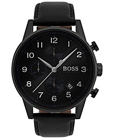 Men's Chronograph Navigator Black Leather Strap Watch 44mm 1513497