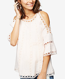 A Pea in the Pod Cotton Embroidered Cold-Shoulder Top