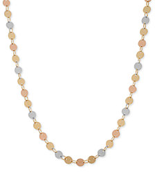 Tri-Tone Polished Disc Long Necklace in 14k Gold, White Gold and Rose Gold