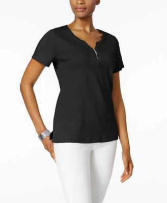 Image of Karen Scott Cotton Zip-Neck Top, Created for Macy's