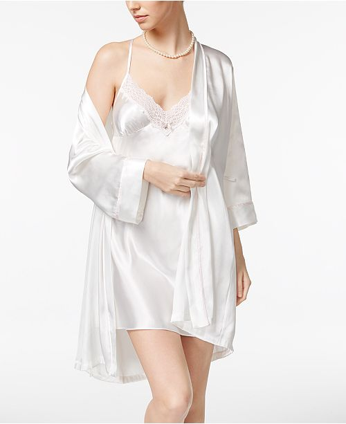 Linea Donatella Mrs. Embroidered Wrap Robe and Chemise Nightgown Set