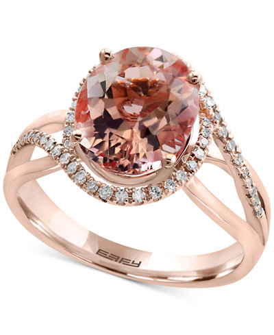 Blush by EFFY® Morganite (3-1/3 ct. t.w.) and Diamond (1/5 ct. t.w.) Ring in 14k Rose Gold