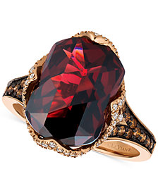 Le Vian Chocolatier® Pomegranate Garnet™ (6-9/10 ct. t.w.) and Diamond (3/8 ct. t.w.) Ring in 14k Rose Gold