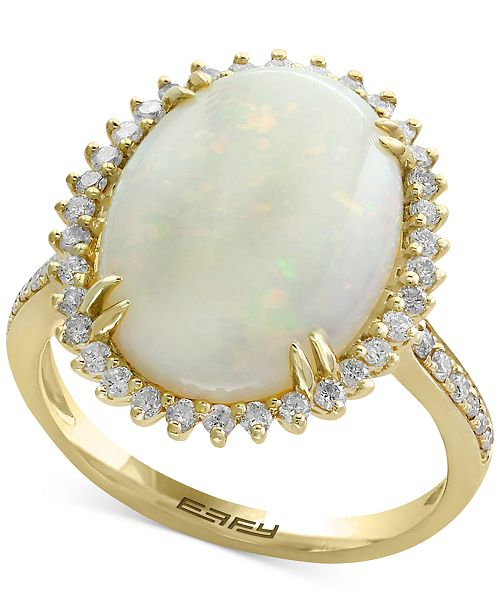EFFY Collection Aurora by EFFY® Opal (4-3/8 ct. t.w.) and Diamond (1/2 ct. t.w.) Ring in 14k Gold