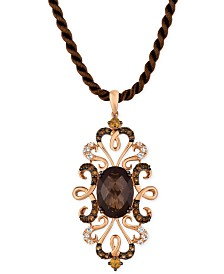 Le Vian®Crazy Collection Multi-Gemstone Silk Cord Pendant Necklace (6-1/4 ct. t.w.) in 14k Rose Gold