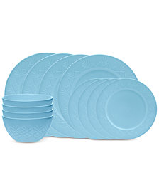 Godinger Dublin Blue 12-Piece Dinnerware Set, Service for 4