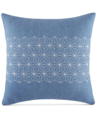 """CLOSEOUT! Geo Embroidered 18"""" Square Decorative Pillow"""