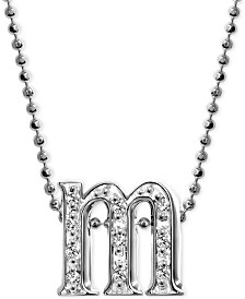"""Alex Woo Diamond Accent Initial """"m"""" Pendant Necklace in 14k White Gold"""