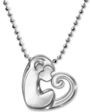 """Little Activist Love Monkey Charm 16"""" Pendant Necklace in Sterling Silver"""