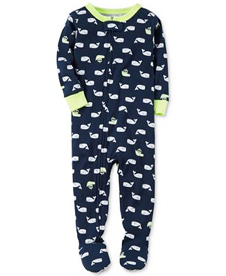 Carter's 1-Pc. Whale-Print Footed Pajamas, Toddler Boys (2T-4T ...