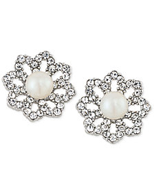 Carolee Silver-Tone Pavé & Imitation Pearl Clip-On Stud Earrings