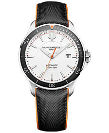 Baume & Mercier Men's Swiss Automatic Clifton Club Black Leather Strap Watch 42mm M0A10337