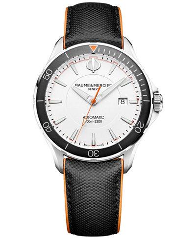 Baume & Mercier Men's Swiss Automatic Clifton Club Black Leather Strap Watch 42mm M0A10337