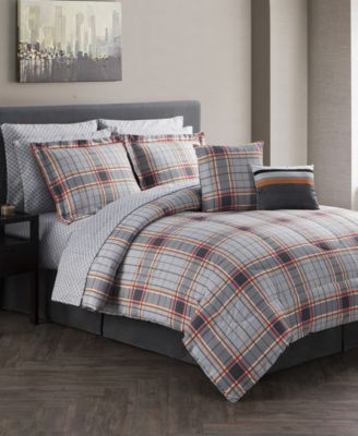 jasper reversible 12pc gray king comforter set - Cal King Comforter Sets
