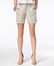 I.N.C. Linen Curvy-Fit Shorts, Created for Macy's