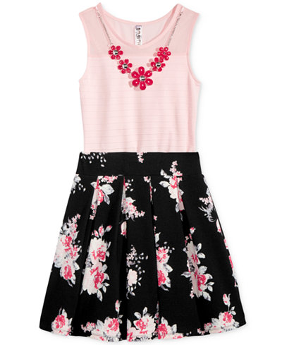 Beautees 2-Pc. Bodysuit & Floral-Print Skirt Set, Big Girls (7-16)
