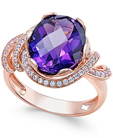 Amethyst (4-1/4 ct. t.w.) and White Topaz (1/3 ct. t.w.) Ring in 14k Rose Gold-Plated Sterling Silver