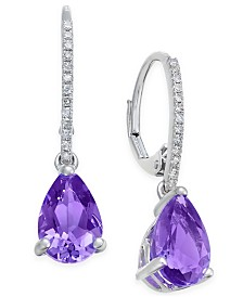 Amethyst (2 ct. t.w.) and Diamond (1/10 ct. t.w.) Drop Earrings in 14k White Gold