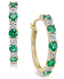 Sapphire (3/4 ct. t.w.) and Diamond Accent Hoop Earrings in 14k Gold (Also Emerald and Certified Ruby)