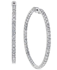 Diamond Large Inside & Out Hoop Earrings (10 ct. t.w.) in 14k White Gold