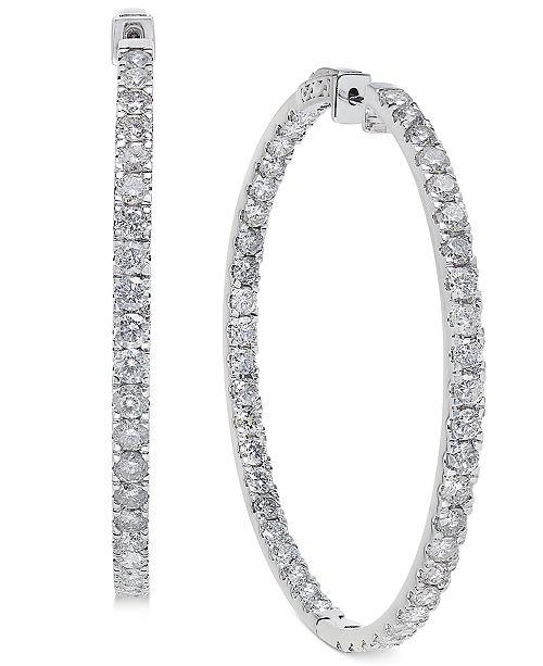 6c116bed8 Macy's Diamond Large Inside & Out Hoop Earrings (10 ct. t.w.) in 14k ...