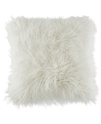 "Faux-Fur Mongolian 18"" Square Decorative Pillow"