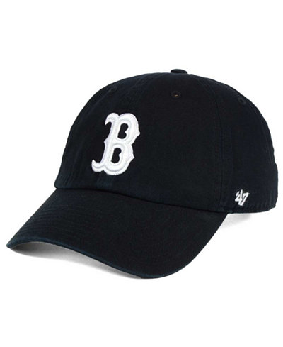 '47 Brand Boston Red Sox Black White CLEAN UP Cap