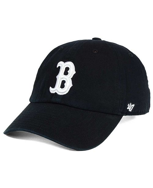 '47 Brand Boston Red Sox Black White CLEAN UP Cap