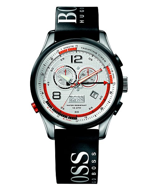 BOSS Hugo Boss Watch, Men's Regatta Black Rubber Strap 1512501