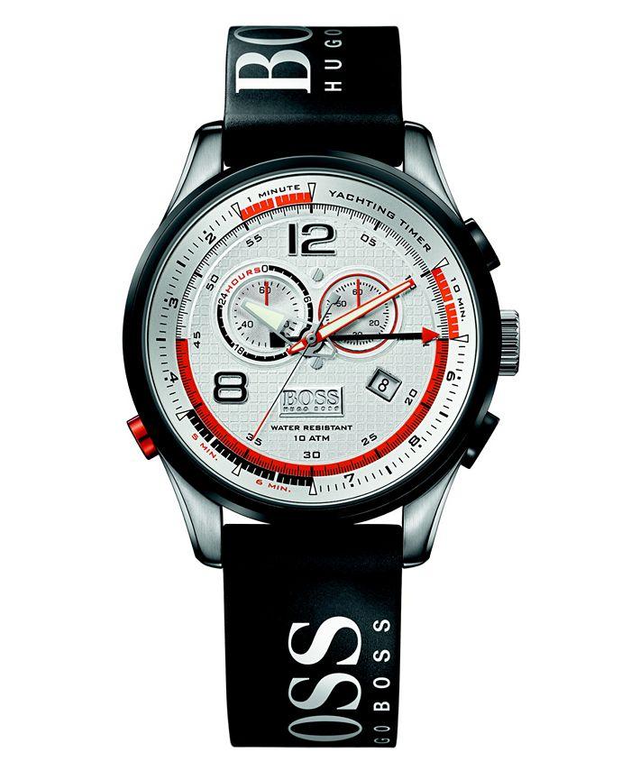 BOSS - Watch, Men's Regatta Black Rubber Strap 1512501