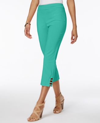 Image of JM Collection Petite Lattice-Hem Capri Pants, Only at Macy's