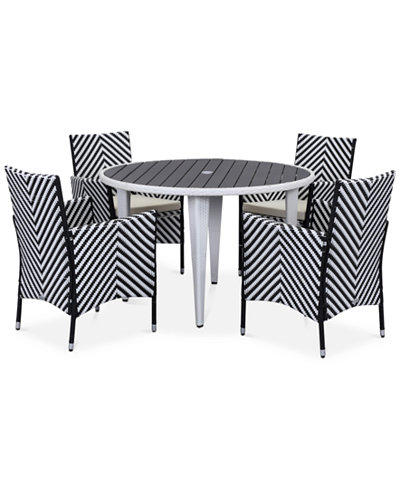 Deven Outdoor 5-Pc. Chevron Dining Set (Dining Table & 4 Chairs), Quick Ship