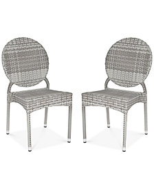 Delma Set of 2 Indoor/Outdoor Wicker Side Chairs, Quick Ship