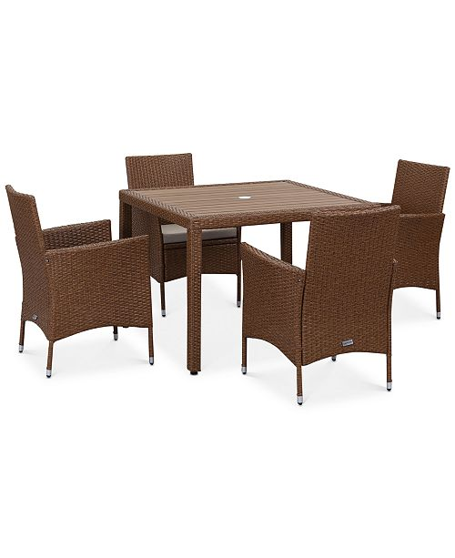 Safavieh Elsen Outdoor 5-Pc. Dining Set (Dining Table & 4 Chairs), Quick Ship