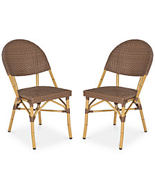 Louisa Set of 2 Indoor/Outdoor Wicker Side Chairs, Quick Ship