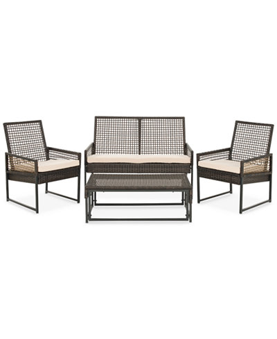 Albani Outdoor 4-Pc. Seating Set (1 Loveseat, 2 Chairs & 1 Coffee Table), Quick Ship